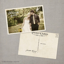Juliette - 4x6 Vintage Wedding Thank You Postcard card