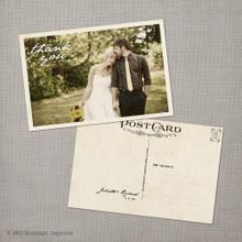 Juliette - 4x6 Vintage Wedding Thank You Postcard card