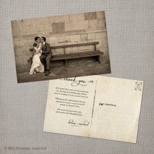 Kelsey - 4x6 Vintage Wedding Thank You Postcard card