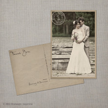 Kirianne - 4x6 Vintage Wedding Thank You Postcard