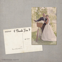 Nikki - 4x6 Vintage Wedding Thank You Postcard card