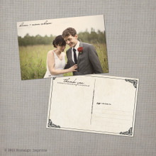 Nina - 4x6 Vintage Wedding Thank You Postcard card