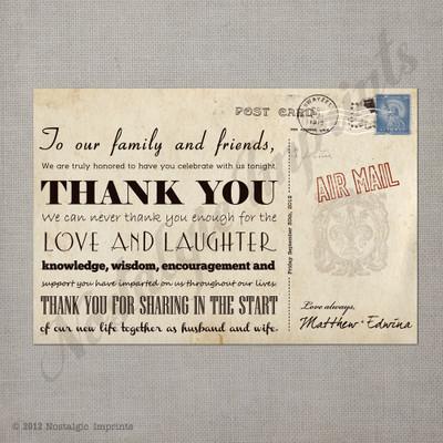 Edwina 2 - 4x6 Vintage Reception Wedding Thank You Card