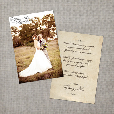Olivia - 4x6 Vintage Wedding Thank You Card