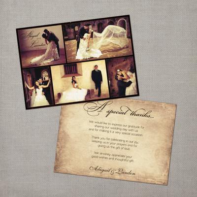 Abigail - 5x7 Vintage Wedding Thank You Card