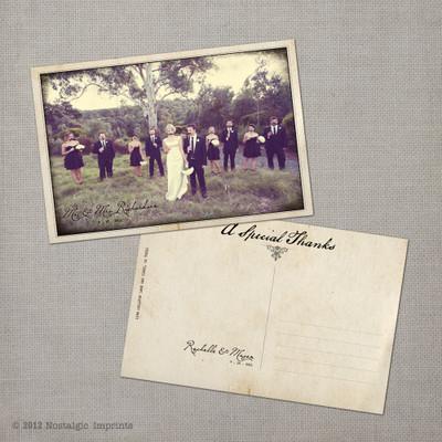 Rachelle - 4x6 Vintage Wedding Thank You Postcard card