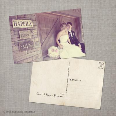 Raina - 4x6 Vintage Wedding Thank You Postcard card