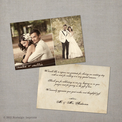 Sallie - 4x6 Vintage Wedding Thank You Card