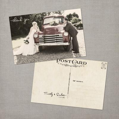 Scarlett - 4x6 Vintage Wedding Thank You Postcard card