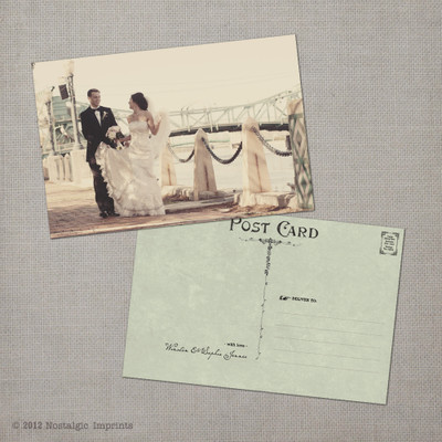 Sophia 1 - 4x6 Vintage Wedding Thank You Postcard card