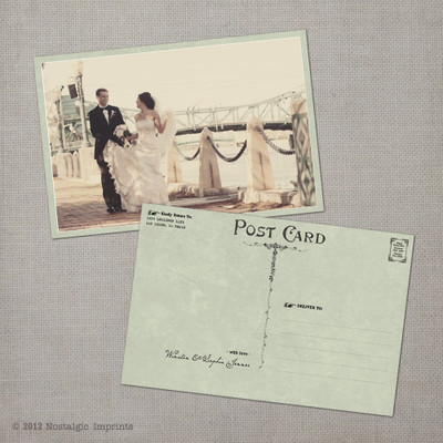 Sophia 2 - 4x6 Vintage Wedding Thank You Postcard Card