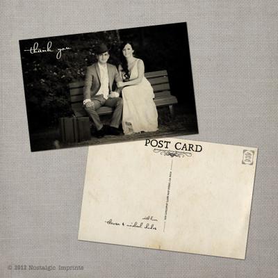 Theresa - 4x6 Vintage Wedding Thank You Postcard