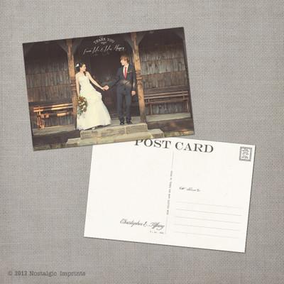 Tiffany - 4x6 Vintage Wedding Thank You Postcard