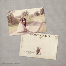 Whitley - 4x6 Vintage Wedding Thank You Postcard card