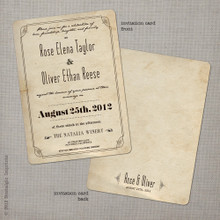 Rose 1 - 5x7 Vintage Wedding Invitation