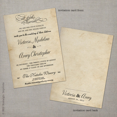 vintage rustic inspired wedding invitation