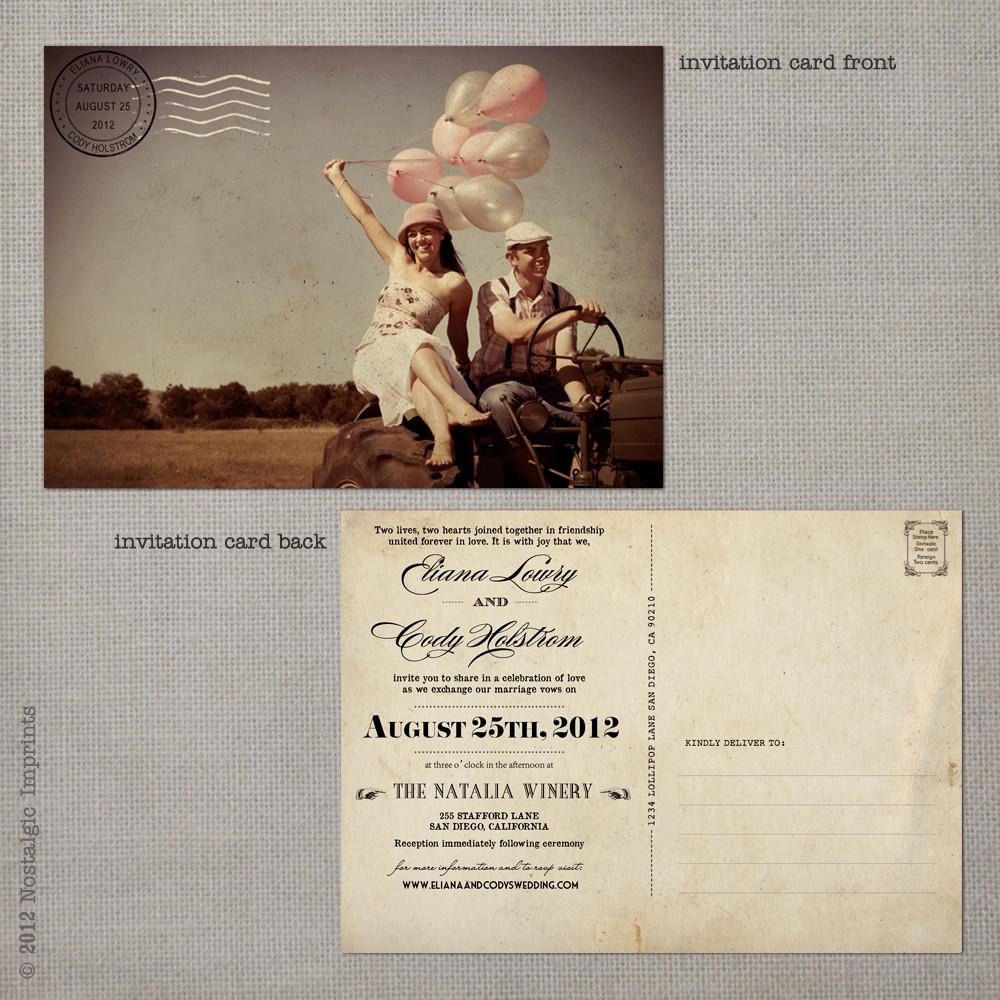 Post Card Wedding Invitations: 5x7 Postcard Wedding Invitation