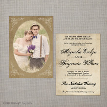 Magnolia - 5x7 Vintage Wedding Invitation