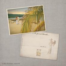 Flora - 5x7 Vintage Wedding Thank You Postcard card