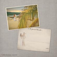 Flora - 5x7 Vintage Wedding Thank You Card