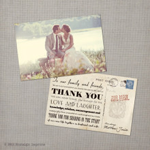 Janice - 4x6 Vintage Wedding Thank You Card