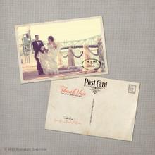 Jennifer 2 - 4x6 Vintage Wedding Thank You Postcard