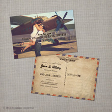 Hillary 1 - 4x6 Vintage Airmail Photo Save the Date Postcard