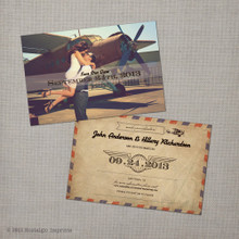 Hillary 2 - 4x6 Vintage Airmail Photo Save the Date Card