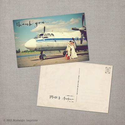 Andrea 1 - 4x6 Vintage Wedding Thank You Postcard