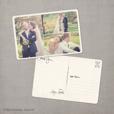 Aralyn 3 - 4x6 Vintage Wedding Thank You Postcard