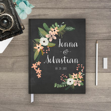 Chalkboard wedding guestbook guest book Guestbook - flower floral Botanical Garden 3 (gb0003)