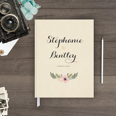 wedding guest book Guestbook - Floral Wreath 1 (gb0008)