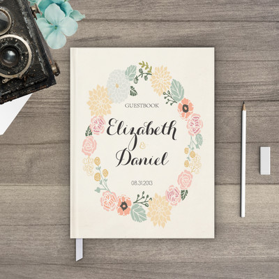 Guest book Wedding Guestbook - Floral Wreath 3 (gb0026)