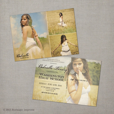 Gabriella - 5x7 Vintage Graduation Invitation Announcement card