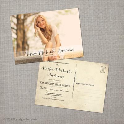 Vintage Graduation photo Invitation Announcement card postcard Alisha 2 - 5x7 Vintage Graduation Invitation Announcement