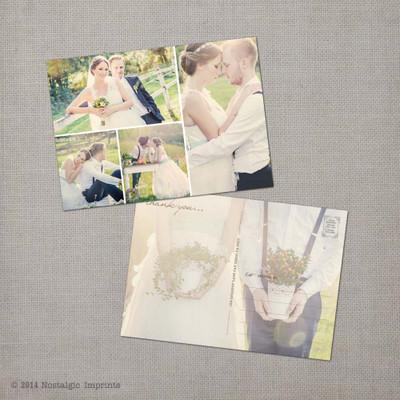 Melody 3 - 5x7 Vintage Wedding Thank You Postcard card