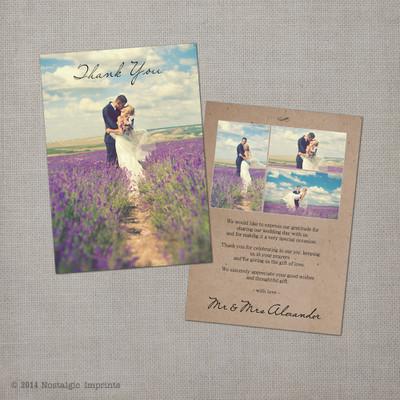Joella 3 - 5x7 Vintage Wedding Thank You Card