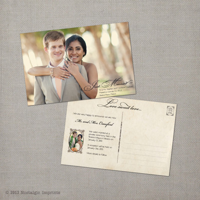 Candace - 4x6 Vintage Wedding Announcement Card