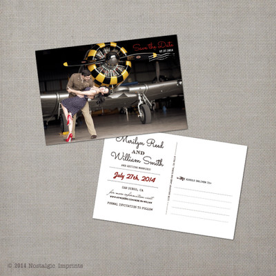Merilyn - 4x6 Airmail Vintage Photo Save the Date Postcard