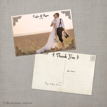 Taylor - 4x6 Vintage Wedding Thank You Postcard
