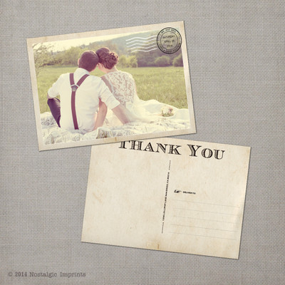Gabby - 5x7 Vintage Wedding Thank You Postcard card