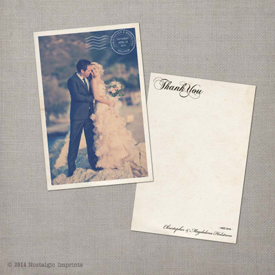 Magdalena - 4x6 Vintage Wedding Thank You Card Cards