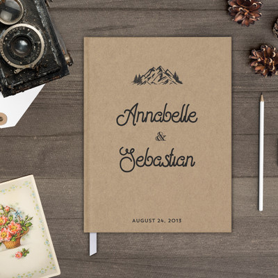 mountains kraft rustic wedding guest book guestbook gb0067