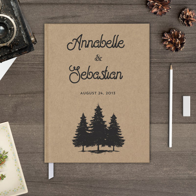 trees kraft rustic wedding guest book guestbook gb0068