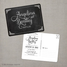 Chalkboard Save the Date Postcard Card Angelina - 4.25x5.5 Save the Date Postcard