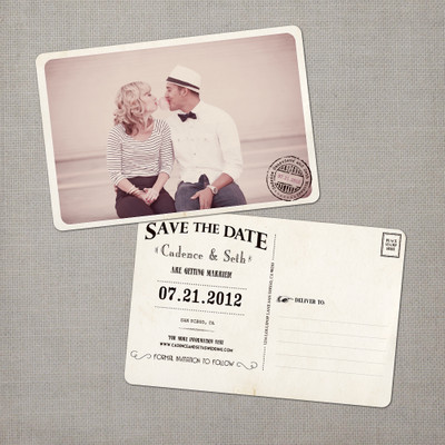Cadence - 4x6 Vintage Photo Save the Date Postcard card