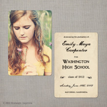 Emily - 4x6  Vintage Graduation Invitation Announcement card