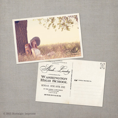 Aleah - 4x6  Vintage Graduation Invitation Announcement card