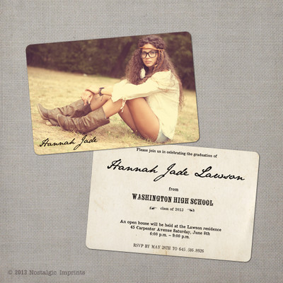 Hannah - 4x6  Vintage Graduation Invitation Announcement card