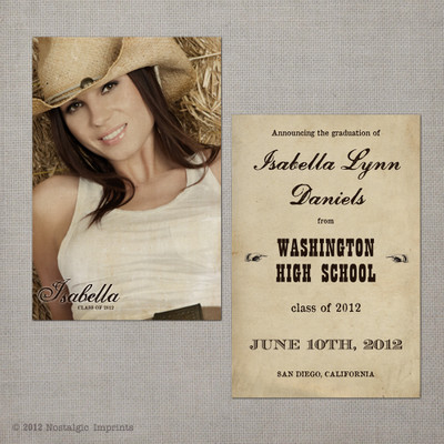 Isabella - 4x6  Vintage Graduation Invitation Announcement card